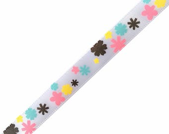 Fancy printed colourful flowers - American Crafts Ribbon