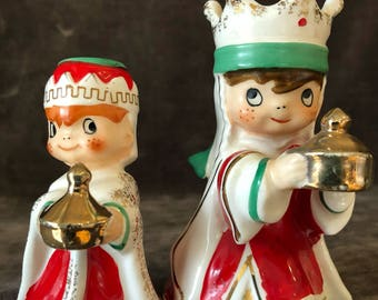 Vintage Christmas Holt Howard HH candle holder wiseman and bell wiseman