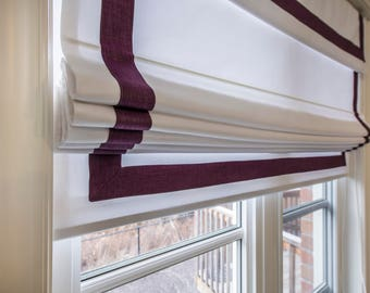 "Flat Roman Shade with valance "" White and Plum border"", with chain mechanism, Windows Treatment"