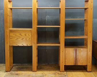 California Designs Oak Bookcase Wall Unit Vintage 1980s Mid-Century Post Modern