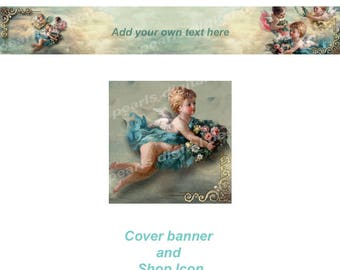 Angels in Clouds, Cover banner and Shop Icon, instant download, blank files, angels, cute, aqua, sky, roses, children, flying, vintage theme