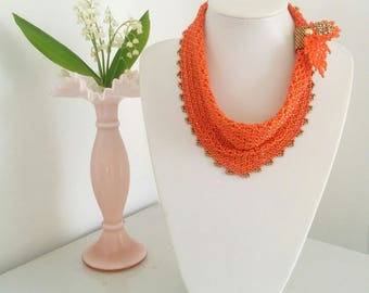 Beaded Scarf in Orange and Bronse with Brooch