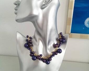 Black Currant Swarowski Pearl  Necklace