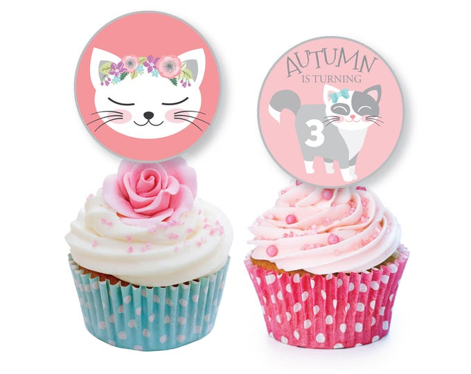 Cat cupcake toppers or bunting - Pink Kitten Birthday, Cat Birthday Party, Kitten Cupcake Toppers, Cat, Kitty Toppers