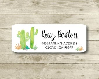 Cactus, Desert, Watercolor Style, Return Address Label, Personalized, MATTE, Everyday