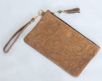 Camel Leather Wristlet with Tassel and Zipper - Small Purse - Tan Embossed Clutch - Leather Bag