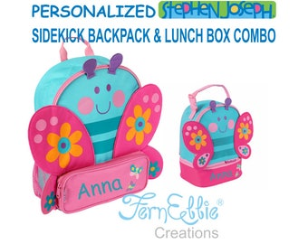 Personalized Stephen Joseph BUTTERFLY Sidekick Backpack and Lunch Pal Combo, Kids Backpack, Kids Lunch Box.