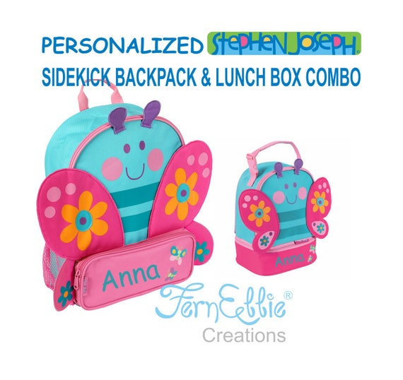 Personalized Stephen Joseph BUTTERFLY Sidekick Backpack and Lunch Pal Combo.