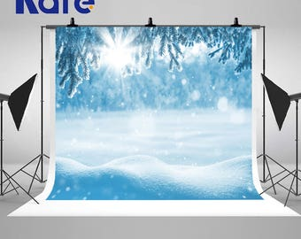 Sunny Winter Snow Drifts Photography Backdrops Hoarfrost  Christmas Trees Photo Backgrounds for Children Studio Props
