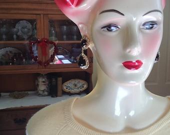 Dazzling Rhinestone Dangle Clip Glass Cabochon Earrings