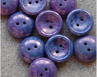 CUP BUTTON Beads, 14mm, Chalk White Lila Vega Luster, 03000/15726, sold in units of 10 beads.