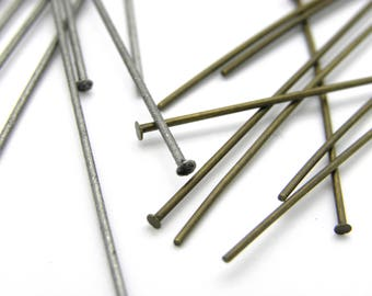 50x Thin, Long, Antique Gold or Antique Silver Head Pins 50 mm (2 inch)