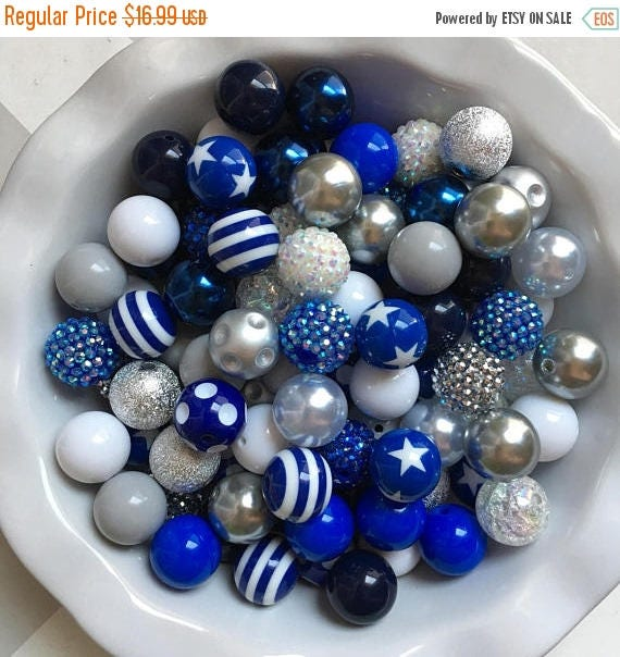 """SALE 100 {20mm} """"Cowboys: Dk Blue, White, & Gray"""" Chunky Bubble Gum Bead Themed Bead Lot **Read Item description before purchase!"""