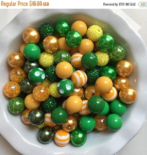 """SALE 100 {20mm} """"Packers: Golden Yellow & Green""""  Chunky Bubble Gum Bead Themed Bead Lot **Read Item description before purchase!"""