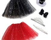Girl Dress Up 3 layers Tutus & Accessories Set for 2 - 5 years old -6 Pcs Halloween