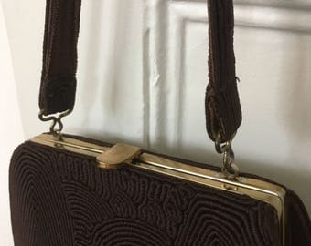 Sumptuous chocolate brown handbag 1930's
