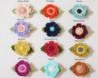 Felt flower hair clip, felt flowers,  yellow headband, little girl hair clip, baby girl headband,  summer hair clip, felt flower clip, hair