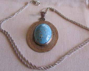 Sterling Silver and Hubbell Glass Turquoise Necklace from Mexico