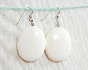 White, natural stone, oval earrings, sterling silver hooks