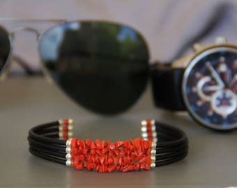 Men's bracelet with genuine red coral from Corsica