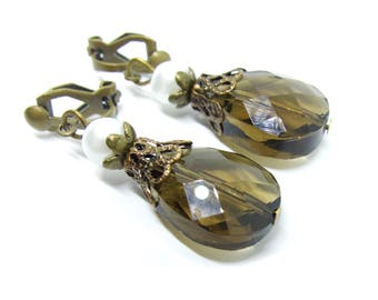 Taupe Glass Drops Antique Brass Clip-On Earrings - Non-Pierced Ears