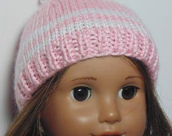 Knitted doll hat with pompom, knitted hat for AmG, 18 inch doll hat, 18 inch knitted doll hat, doll hat with pompom, pink doll hat pompom