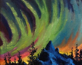Northern Lights,  tiny canvas art, Original nocturne, Winter painting