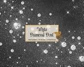 White Diamond Dust Clipart, diamond heart clipart, sparkle bling glitter dust overlays, diamond wedding clip art, pink diamonds digital PNG