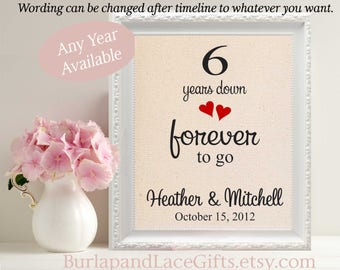 6th Wedding Anniversary Gift for Wife Gift for Husband 6 Years down Gift to Wife Husband Gift Anniversary Decor Personalized Gift (208)