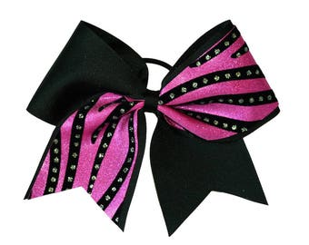 Black and Pink Streamers Cheer Hair Bow