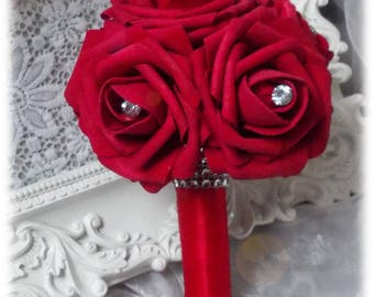 bouquet of roses red bridesmaid jewelry with diamonds and rhinestones
