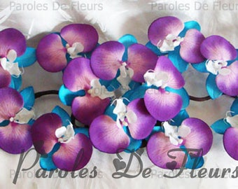 Turquoise, purple and white orchids centerpiece like to customize
