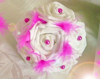 bouquet of roses, pearls and feathers, bridesmaid or for the bouquet toss