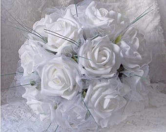 White bridal bouquet, bridesmaid, or to throw bouquet