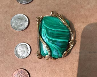 "Large Malachite Free-form Pendant in Gold-filled Wire Wrap Design  Malachite is 45mm High by 35mm Wide  Kinda looks like a ""D"" shape  Look !"