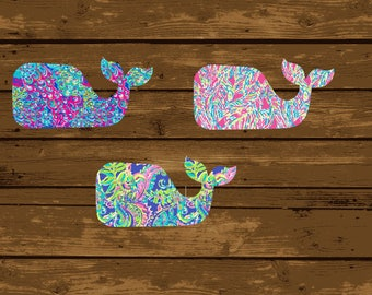Lilly Pulitzer Inspired Whale Vinyl Decal, Whale Decal, Whale Sticker, Whale, Lilly Whale, Whale Car Decal, Preppy Whale Decal