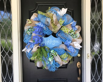 Summer Front Door Wreath Blue Orchid Welcome Wreath Extra Large Front Door Summer Wreath Welcome Blue Orchid Wreath