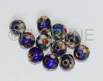 10 Chinese cloisonne blue 8Mm round beads