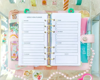 Meal Planner Personal Size 3.7x6.7 inches WEEKLY MENU Printable PDF Shopping Grocery list Meals planner Filofax Inserts. Instant download.