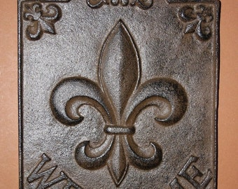 14% OFF 1, Fleur De Lis, Welcome Sign, Cast Iron, Front Door Decor, Foyer,  Entrance Door Decor, Foyer, French Style, New Orleans, F-9