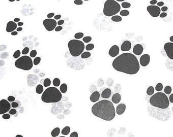 "Black Paw Print on White Tissue Paper # 309 / Gift Wrap - Dog / Cat / Pet  ... 10 large sheets - - 20"" x 30"""