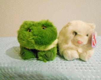 """PUFFKINS By Swibco """"Paws"""" White Kitty/""""Henrietta"""" The Hippo/""""Lily"""" The Frog/And """"Gus""""The Moose/All New With Tags & Poems And Birthdays!"""