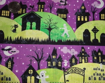Halloween RTC Ghost in the Graveyard Purple Cotton Quilting Fabric BTY by the yard