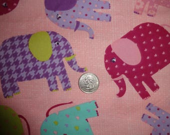 "Elephants Pink Purple JoAnn Cotton Lightweight Twill Fabric 1 yard + 16"" inches"