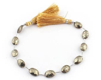 Valentines Day 1 Strand Natural Pyrite Faceted Briolettes - Extremely Beautiful Center Drill Oval Beads 13mmx9mm 9 Inches SB794