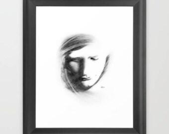 Phantom, Art Print, Graphite, Pencil, Drawing, Black and White, Minimalist, Abstract, Decor, Art, Print