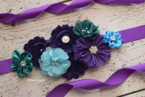 Maternity Sash, Teal blue purple Sash, Mardi Gras sash,flower girl sash, flower Belt, maternity sash belt, teal sash, flower girl sash