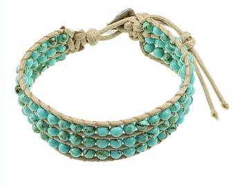 Turquoise bead cord bracelet adjustable bracelet chunky jewelry boho bracelet