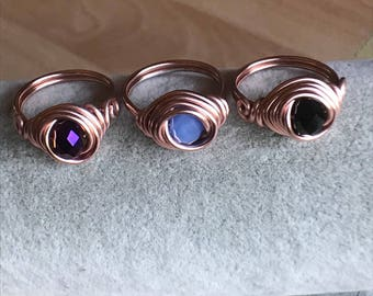 Rose Gold colored wire wrapped bead ring