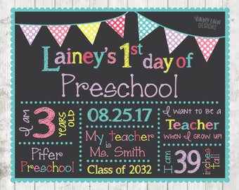 First day of school sign, First day of Preschool sign, 1st day of school chalkboard, 1st day of school sign, Back to School Sign Printable
